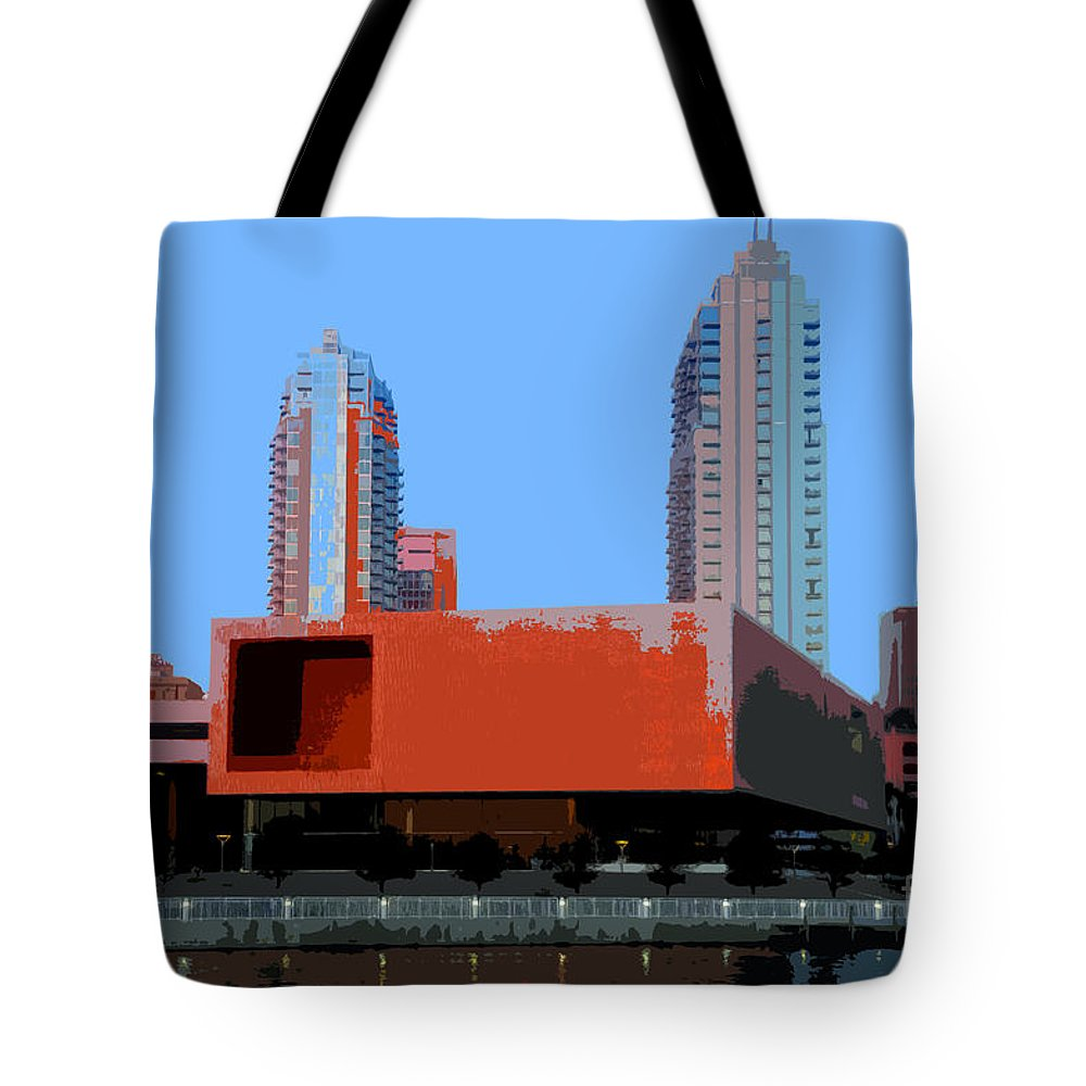 Tampa Florida Tote Bag featuring the painting Modern Tampa by David Lee Thompson