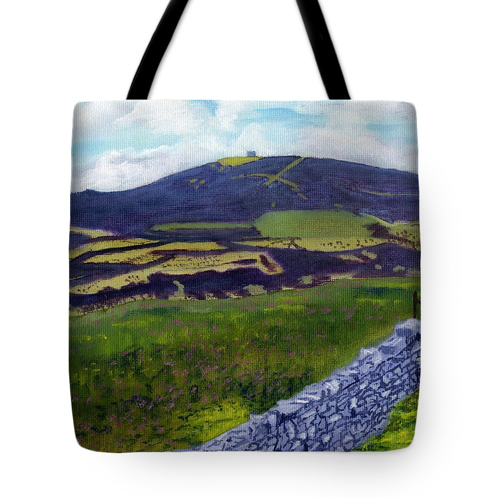 Moel Famau Hill Painting Tote Bag featuring the painting Moel Famau Hill Painting by Edward McNaught-Davis