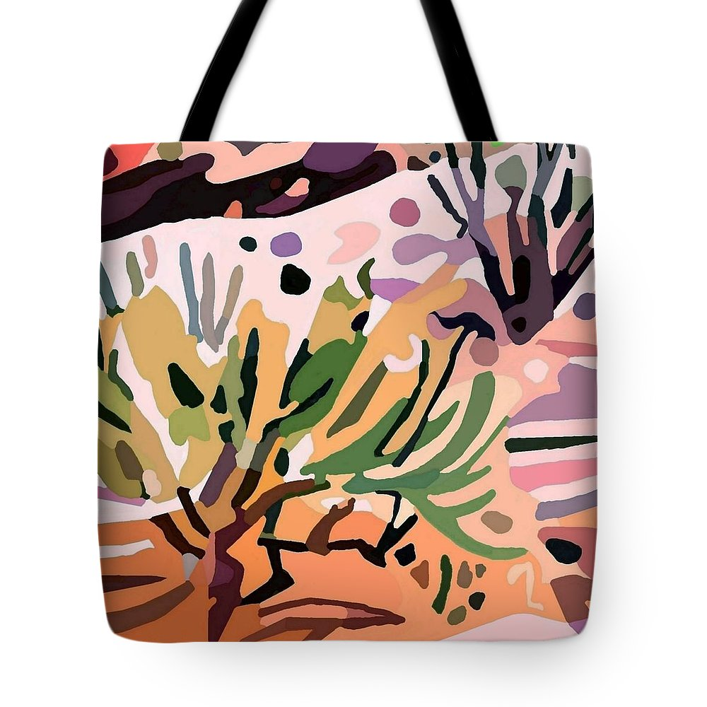 Mojave Desert Tote Bag featuring the painting Mojave Canyon Edge 1 by Ken Pollard