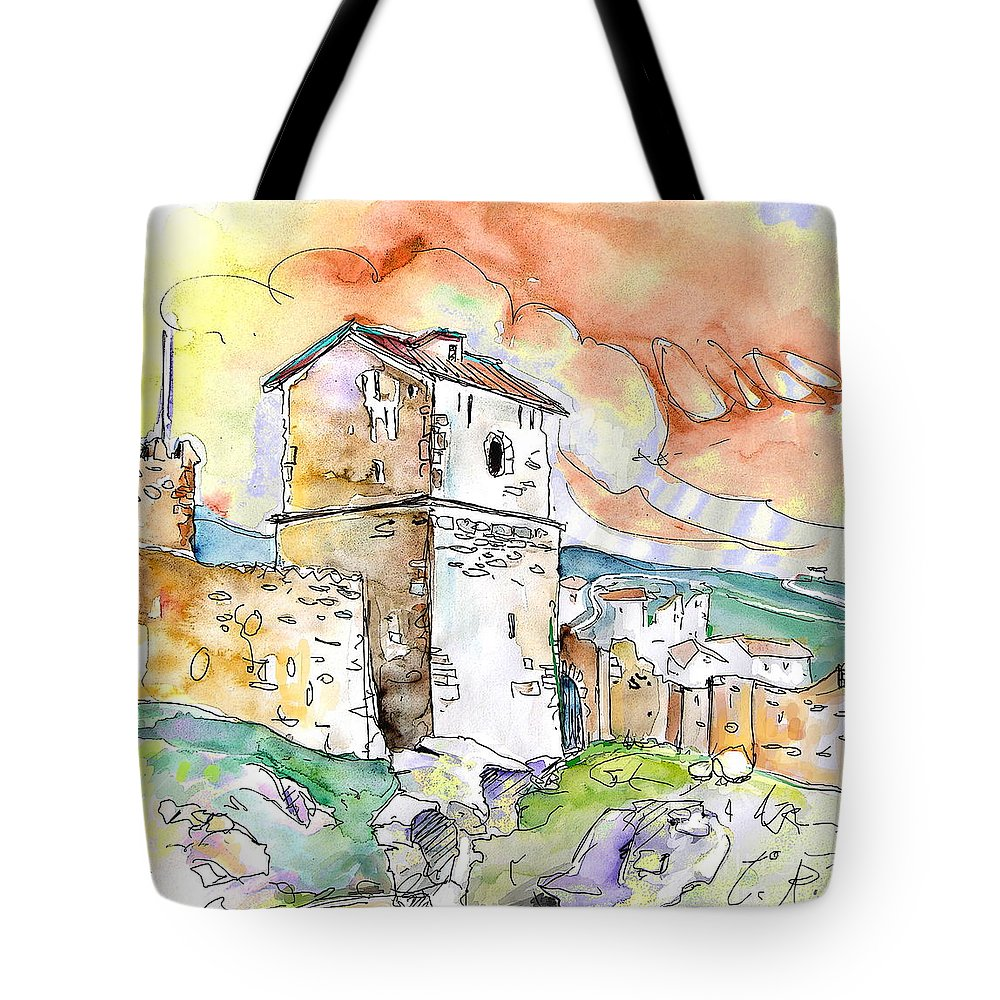 Travel Sketch Tote Bag featuring the painting Molina De Aragon Spain 02 by Miki De Goodaboom