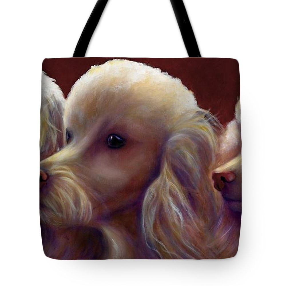 Dogs Tote Bag featuring the painting Molly Charlie and Abby by Shannon Grissom