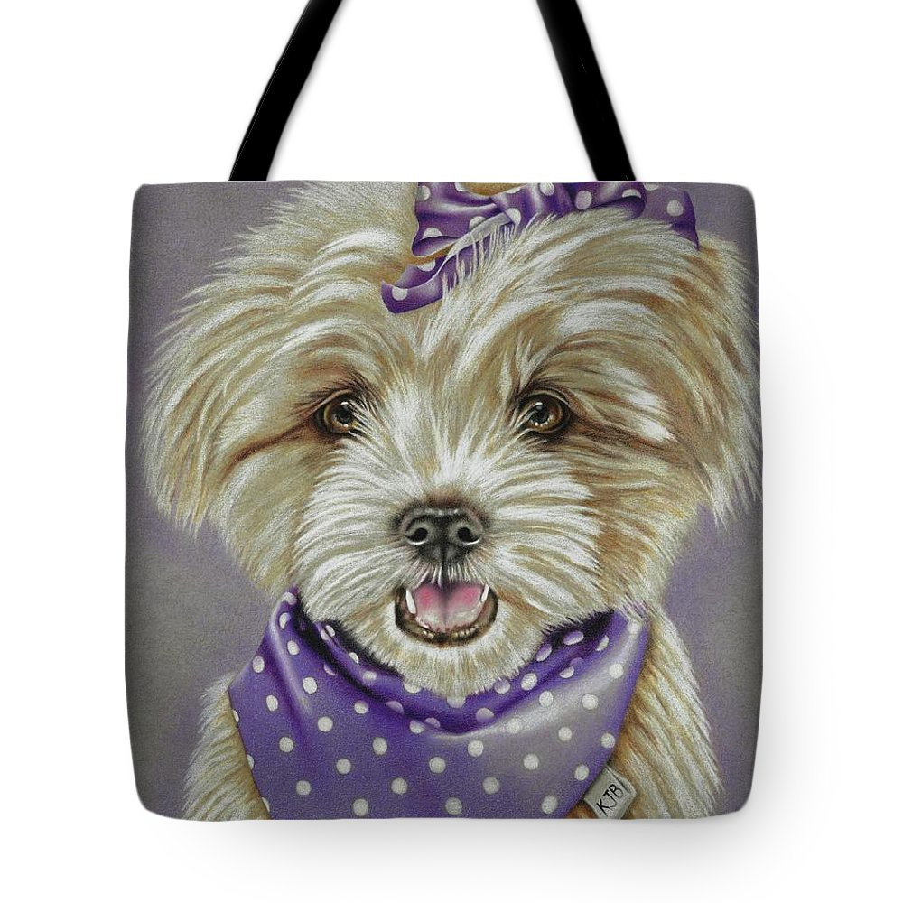 Dog Tote Bag featuring the drawing Molly The Maltese by Karrie J Butler