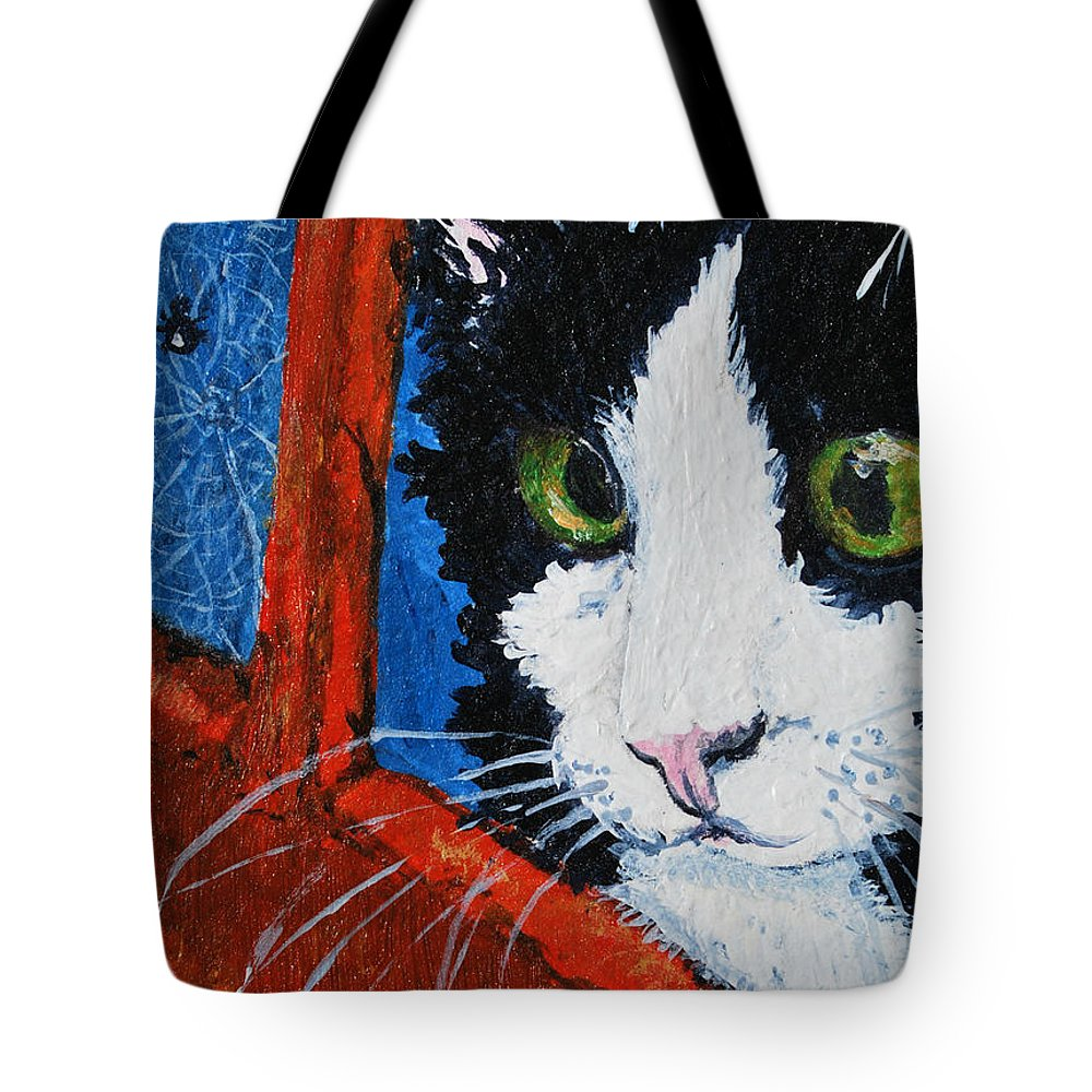 Cat Tote Bag featuring the painting Molly by Reina Resto