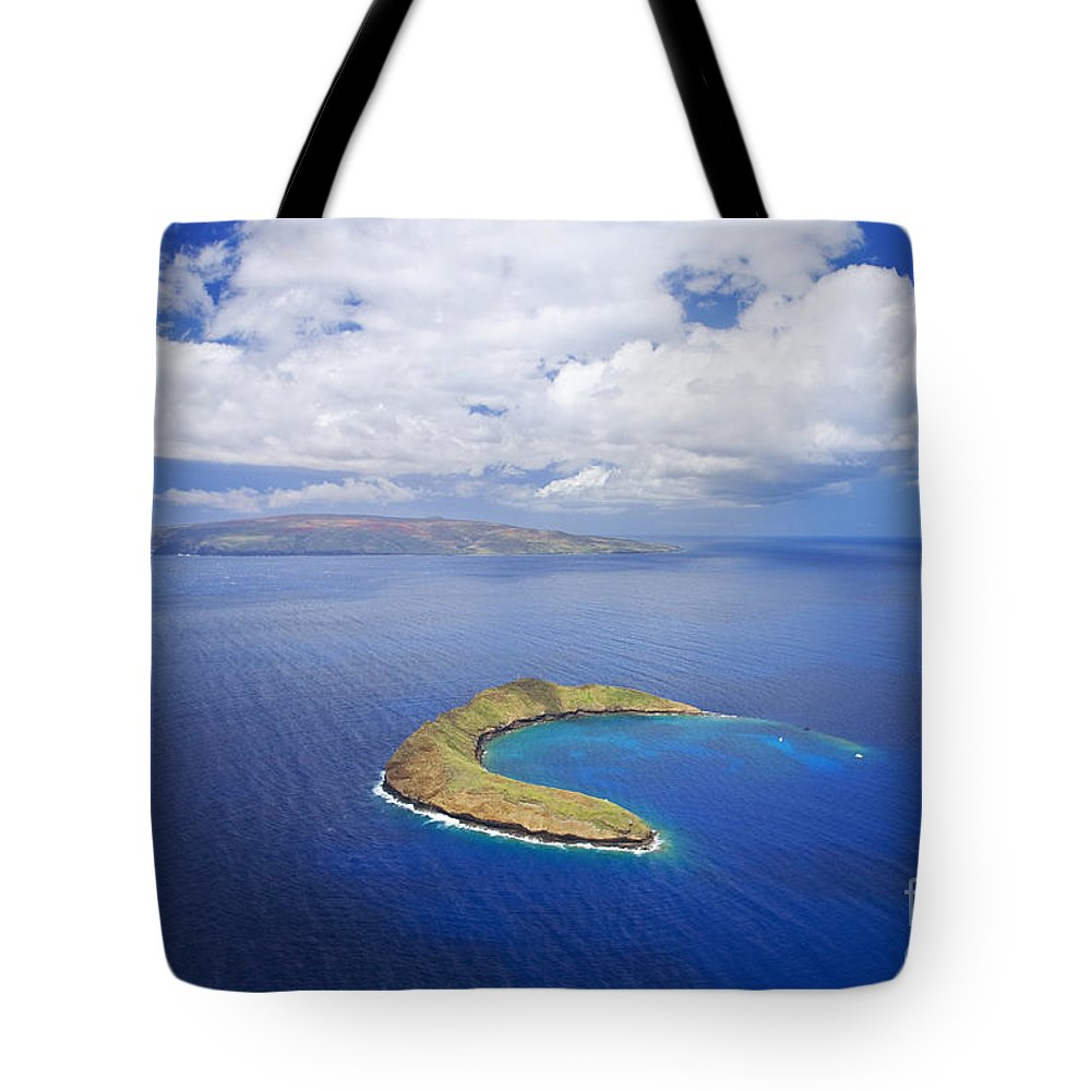 Above Tote Bag featuring the photograph Molokini Aerial by Ron Dahlquist - Printscapes