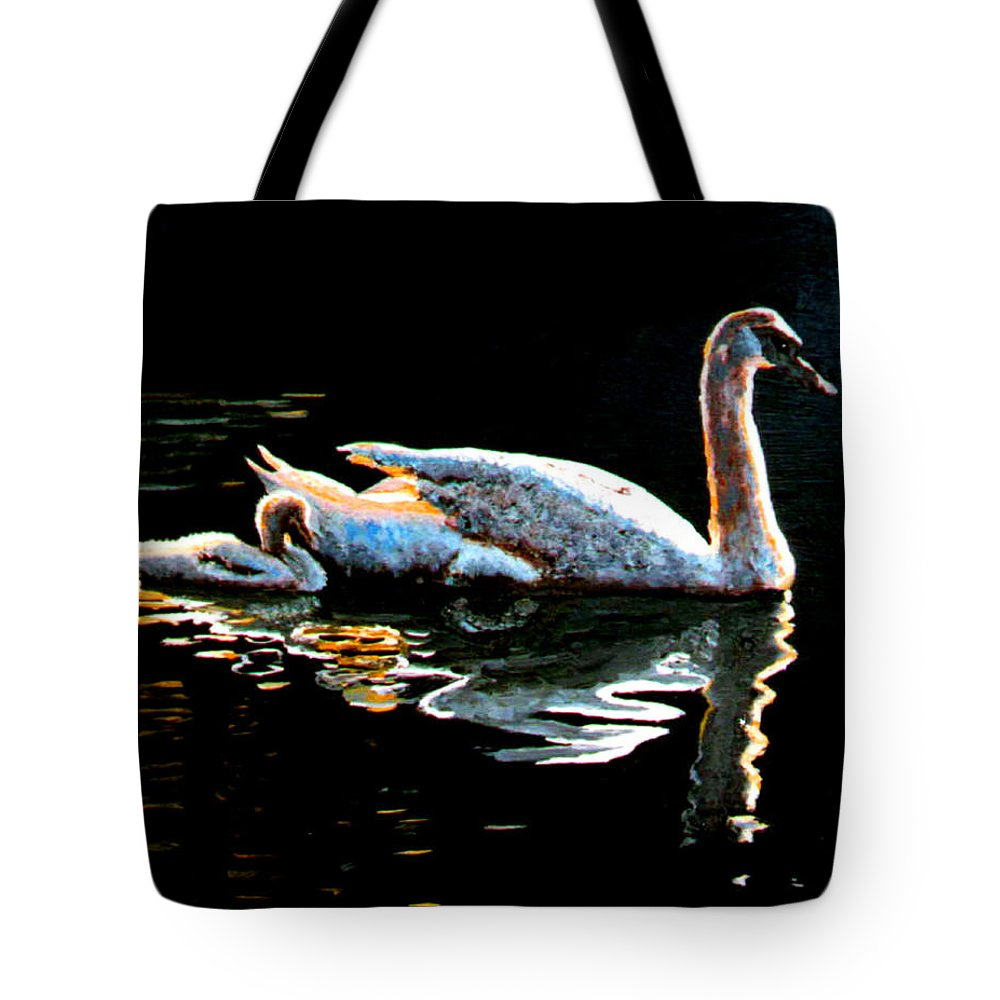 Swan Tote Bag featuring the painting Mom And Baby Swan by Stan Hamilton