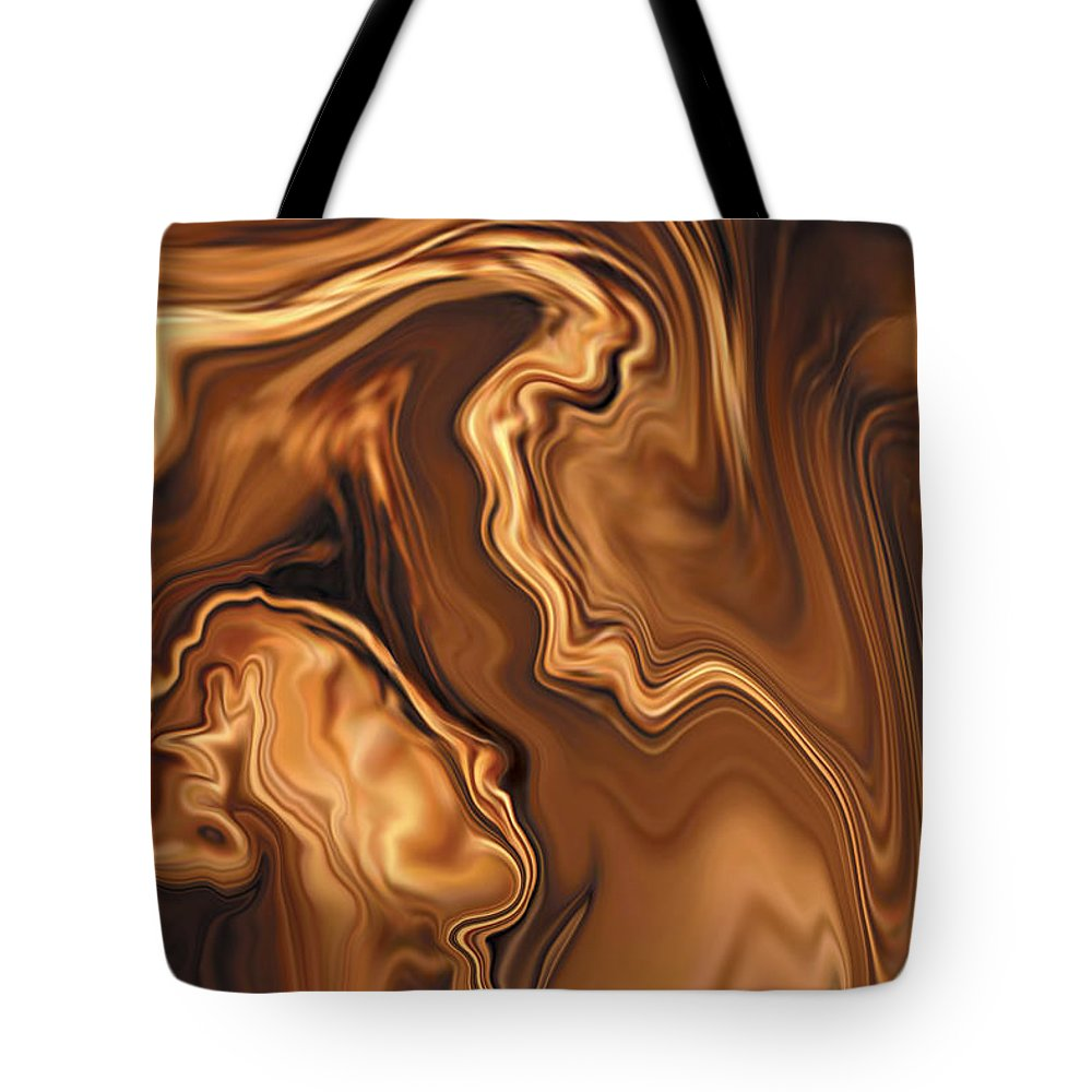 Abstract Adam Art Blue Brown Copper Digital Eve Figurative Khan Kiss Love Night Passion Rabi_khan Se Tote Bag featuring the digital art Moment Before The Kiss by Rabi Khan