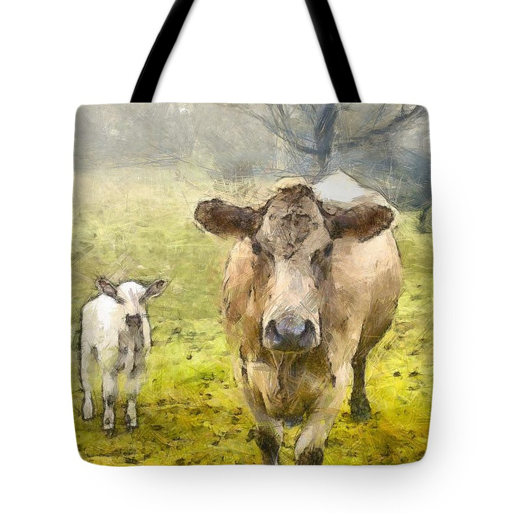 Cow Tote Bag featuring the photograph Momma And Baby Cow Pencil by Edward Fielding