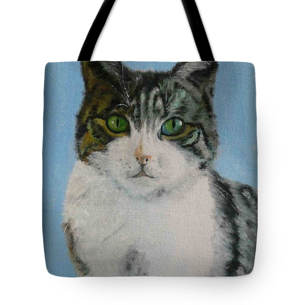 Tomcat Tote Bag featuring the painting Momo by Helmut Rottler