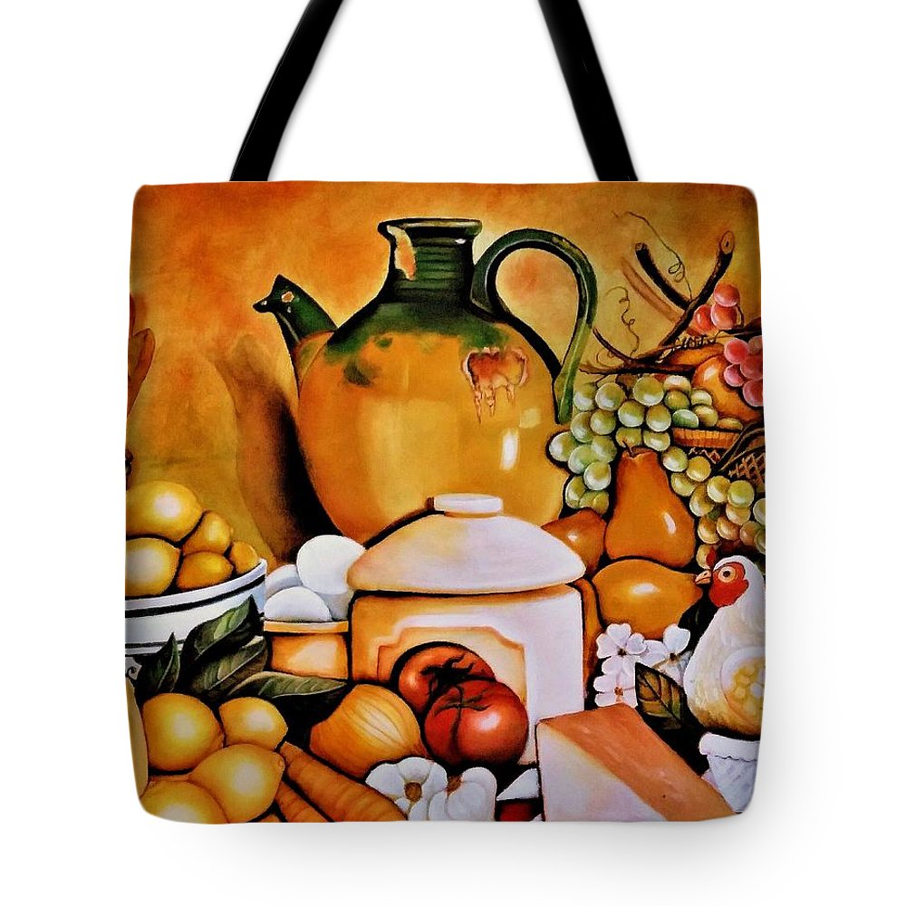 Still Life Tote Bag featuring the painting Mom's Kitchen by Dalgis Edelson