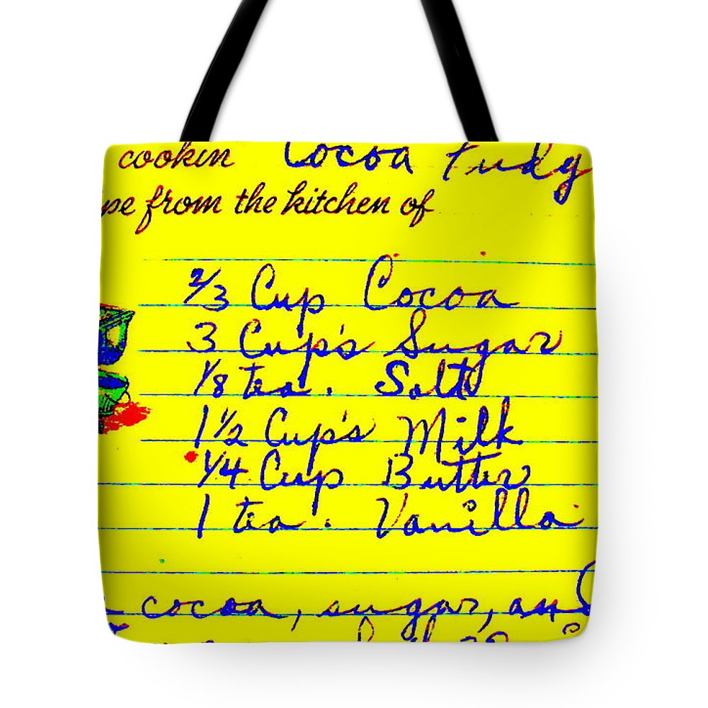 Recipe Tote Bag featuring the photograph Moms Old Recipe by Ed Smith