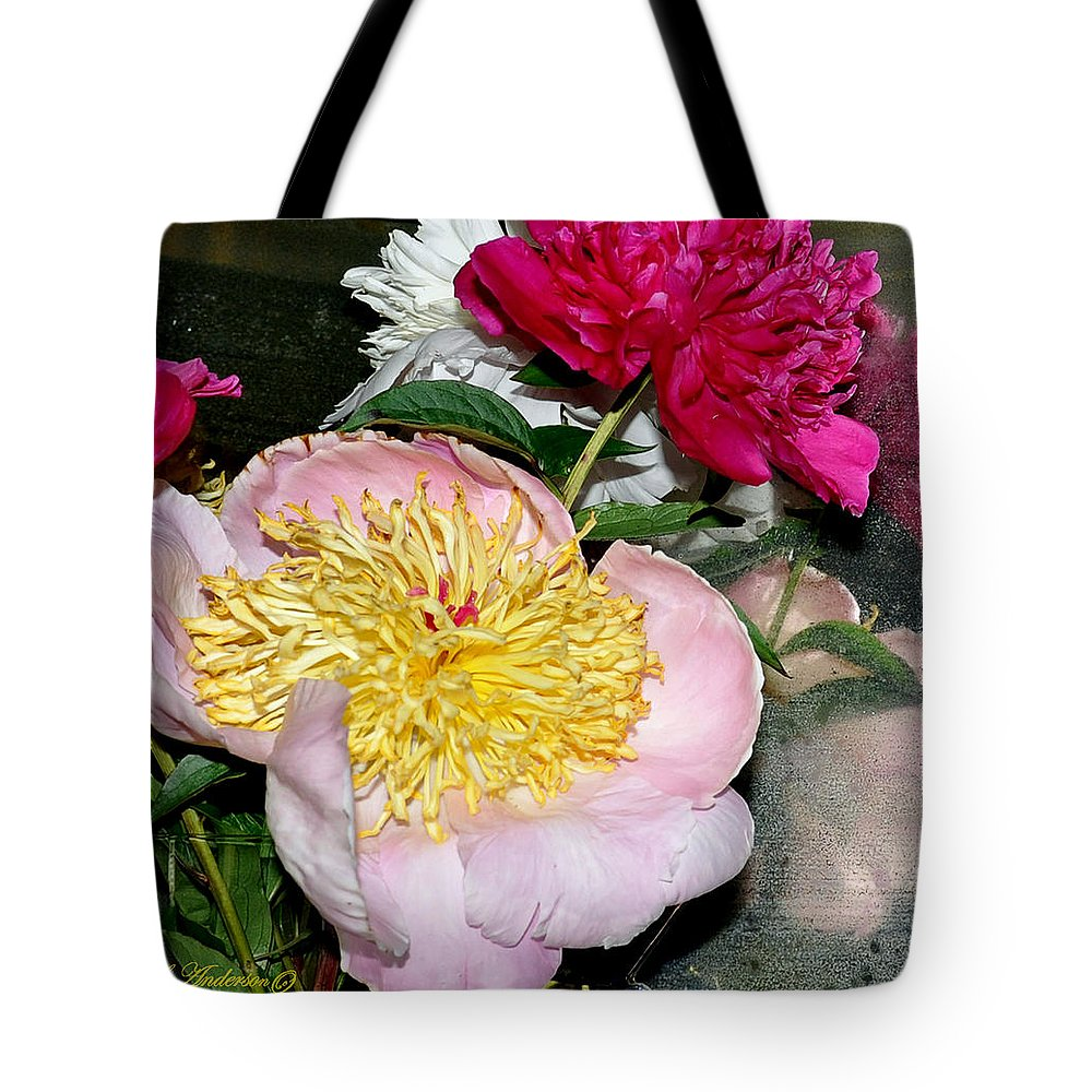 Flowers Tote Bag featuring the photograph Mom's Peonies by Terry Anderson