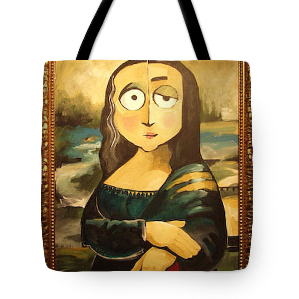 Tote Bag featuring the painting Mona In A Guilded Frame by Tim Nyberg