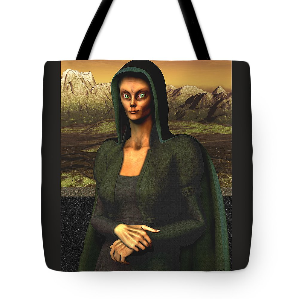 Mona Lisa Tote Bag featuring the digital art Mona Lisa Aien by Nandor Volovo