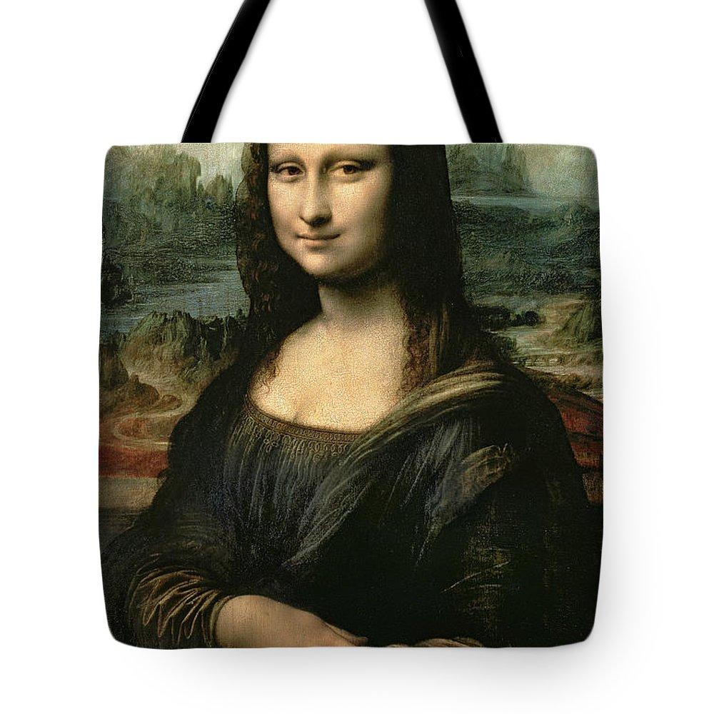 Mona Tote Bag featuring the painting Mona Lisa by Leonardo da Vinci