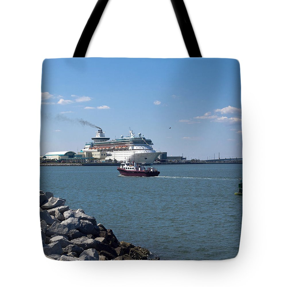 Florida Tote Bag featuring the photograph Monarch Of The Seas At Port Canaveral In Florida by Allan Hughes