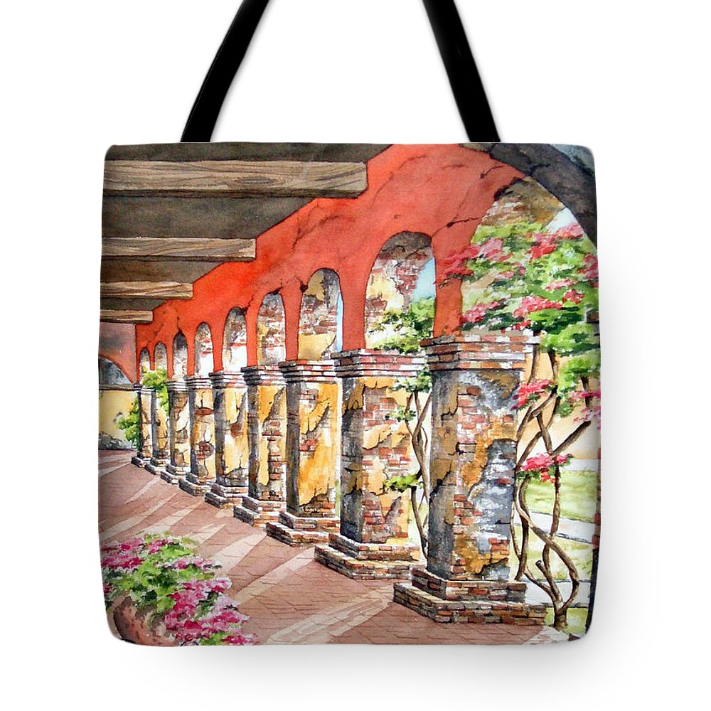 Landscape Tote Bag featuring the painting Monasterio by Tatiana Escobar