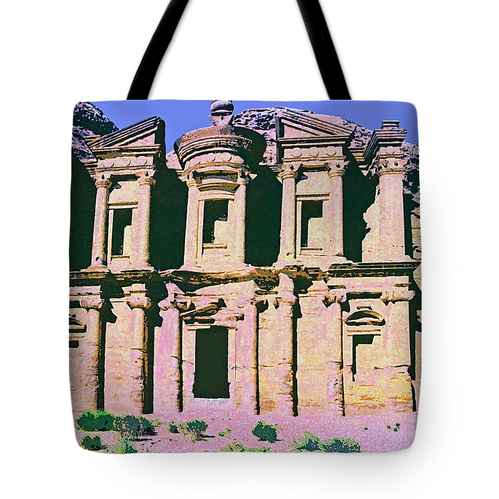 Monastery At Petra Tote Bag featuring the mixed media Monastery At Petra by Dominic Piperata