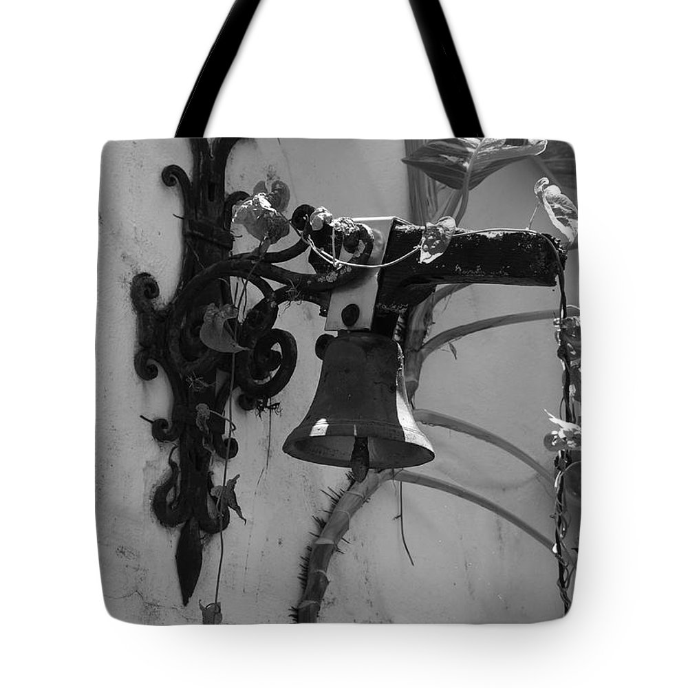 Black And White Tote Bag featuring the photograph Monastery Bell by Rob Hans