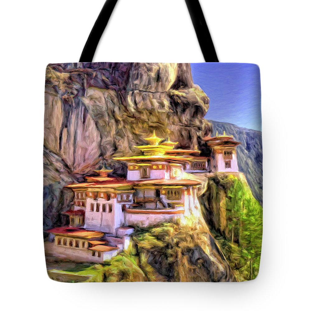 Monastery In Bhutan Tote Bag featuring the painting Monastery In Bhutan by Dominic Piperata