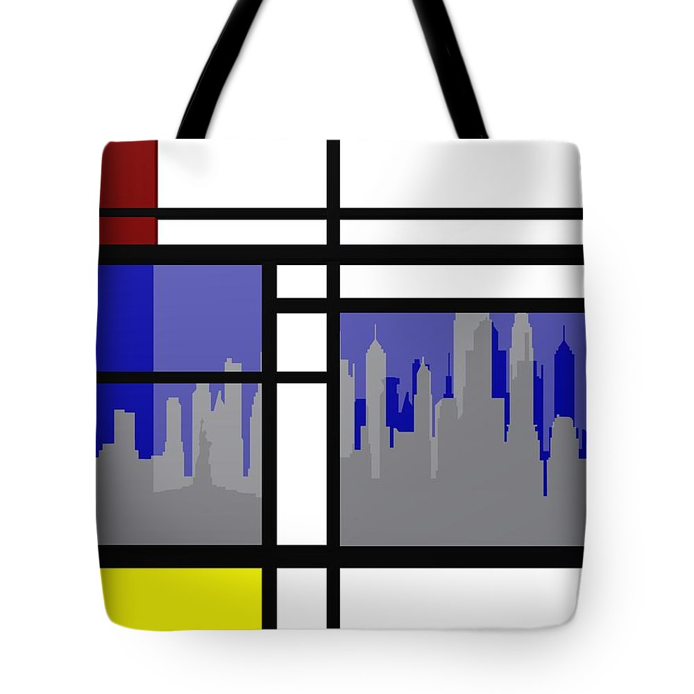 Abstract Cityscapes Tote Bag featuring the digital art Mondrian In N Y by Alberto RuiZ