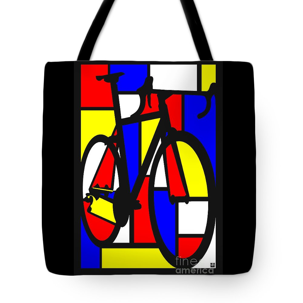 Bicycle Tote Bag featuring the painting Mondrianesque Road Bike by Sassan Filsoof
