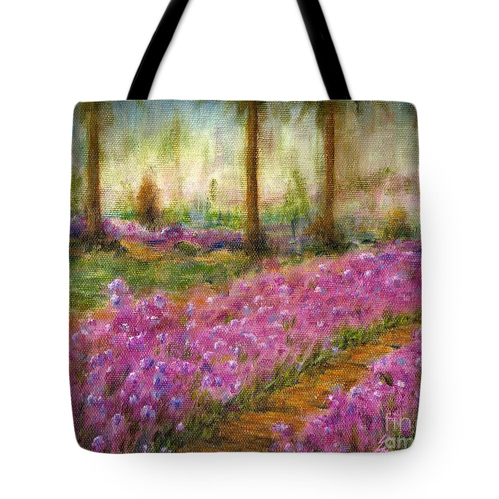 Monet Tote Bag featuring the painting Monet's Garden in Cannes by Jerome Stumphauzer
