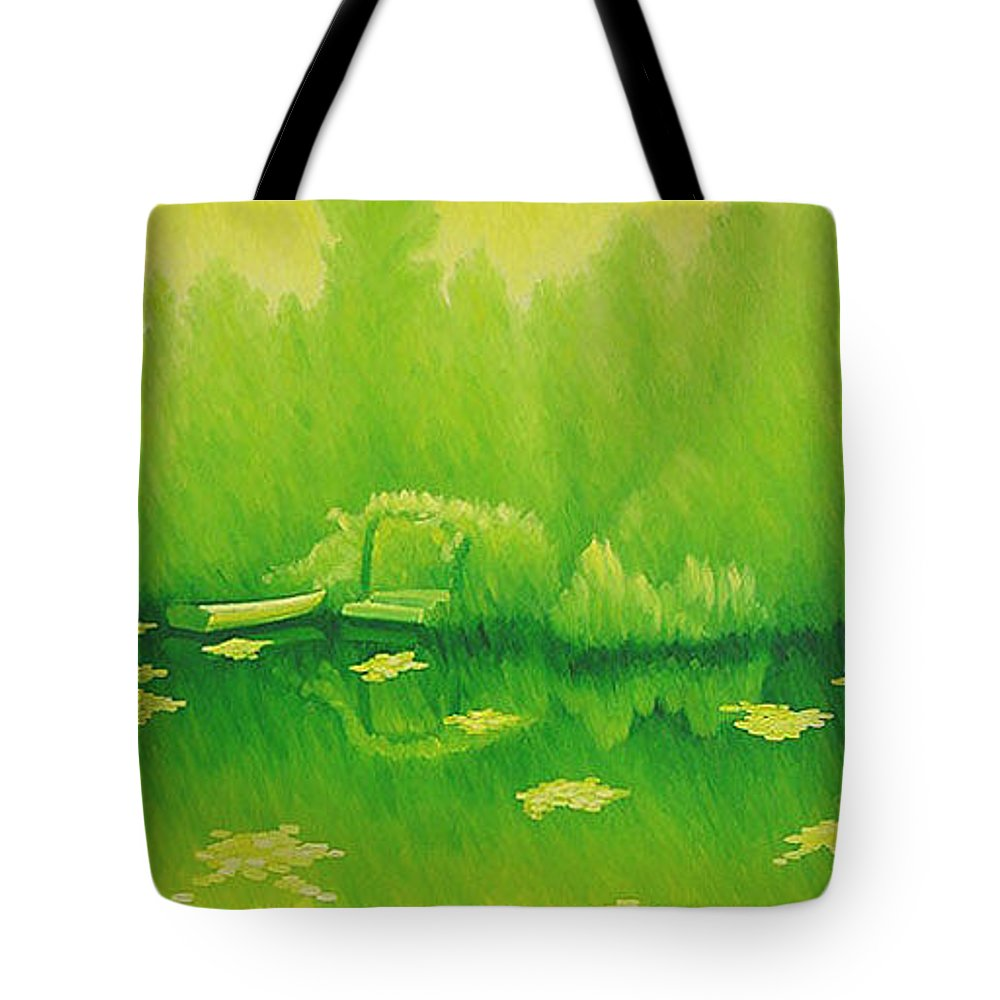 Monets Garden Tote Bag featuring the painting Monets Lily Pond In Yellow Giverny France by Gary Hernandez