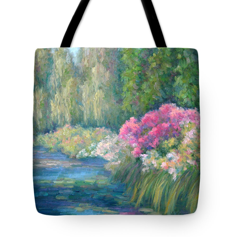 Pond Tote Bag featuring the painting Monet's Pond by Bunny Oliver