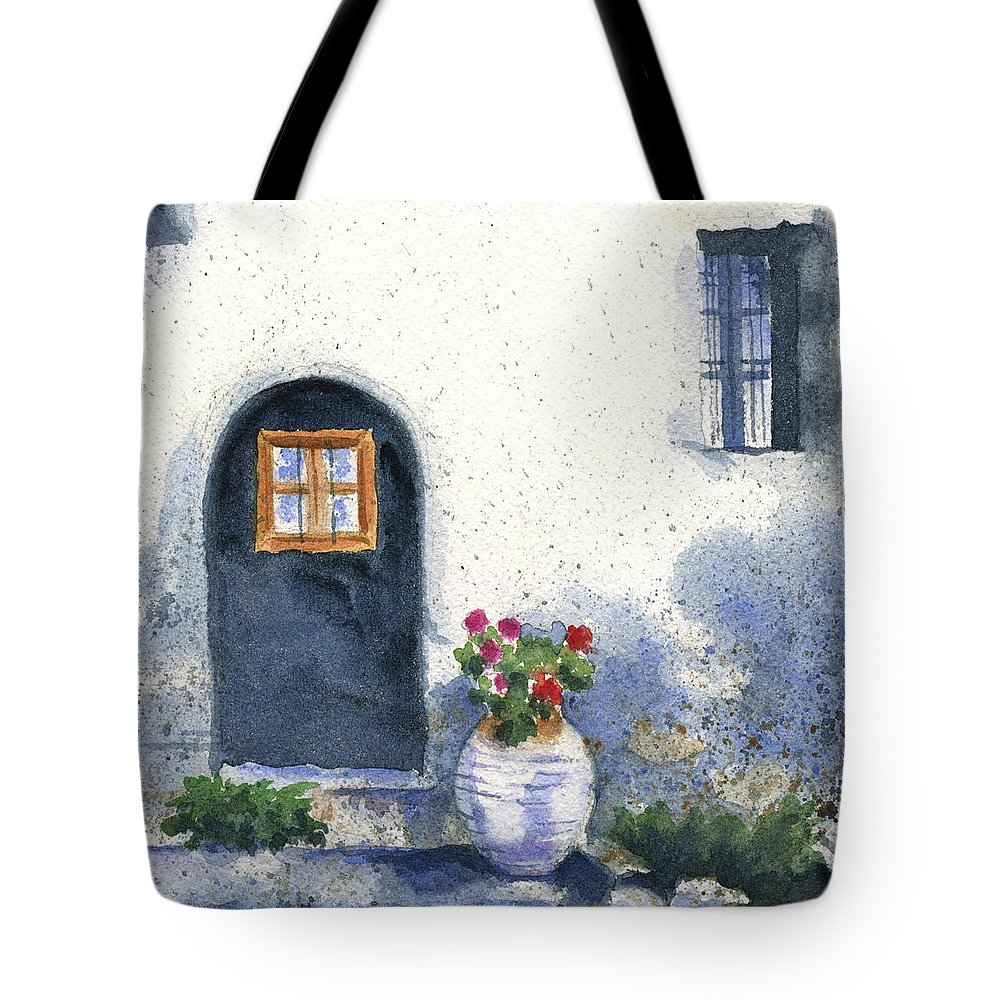 Architecture Tote Bag featuring the painting Monevasia Doorway by Marsha Elliott