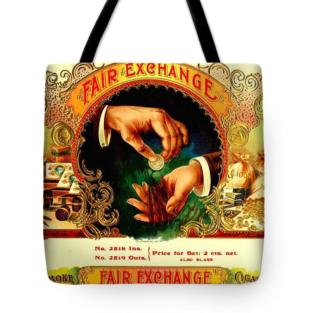 Cigars Tote Bag featuring the digital art Money Cigar Label by Marianne Dow