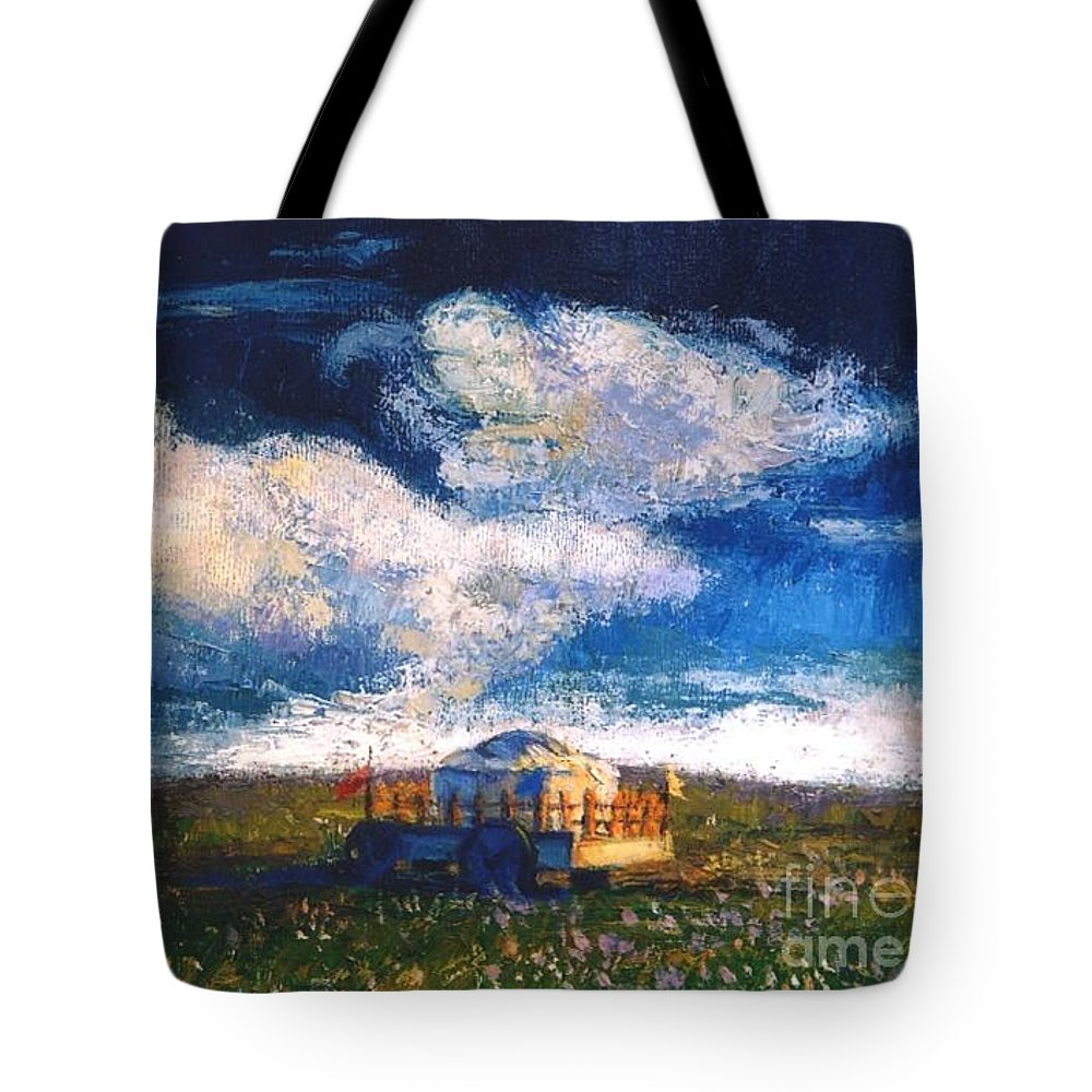 Momgolian Tote Bag featuring the painting Mongolian Home by Meihua Lu
