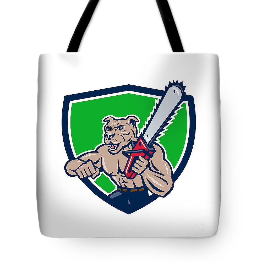 Dog Tote Bag featuring the digital art Mongrel Lumberjack Tree Surgeon Arborist Chainsaw Crest by Aloysius Patrimonio