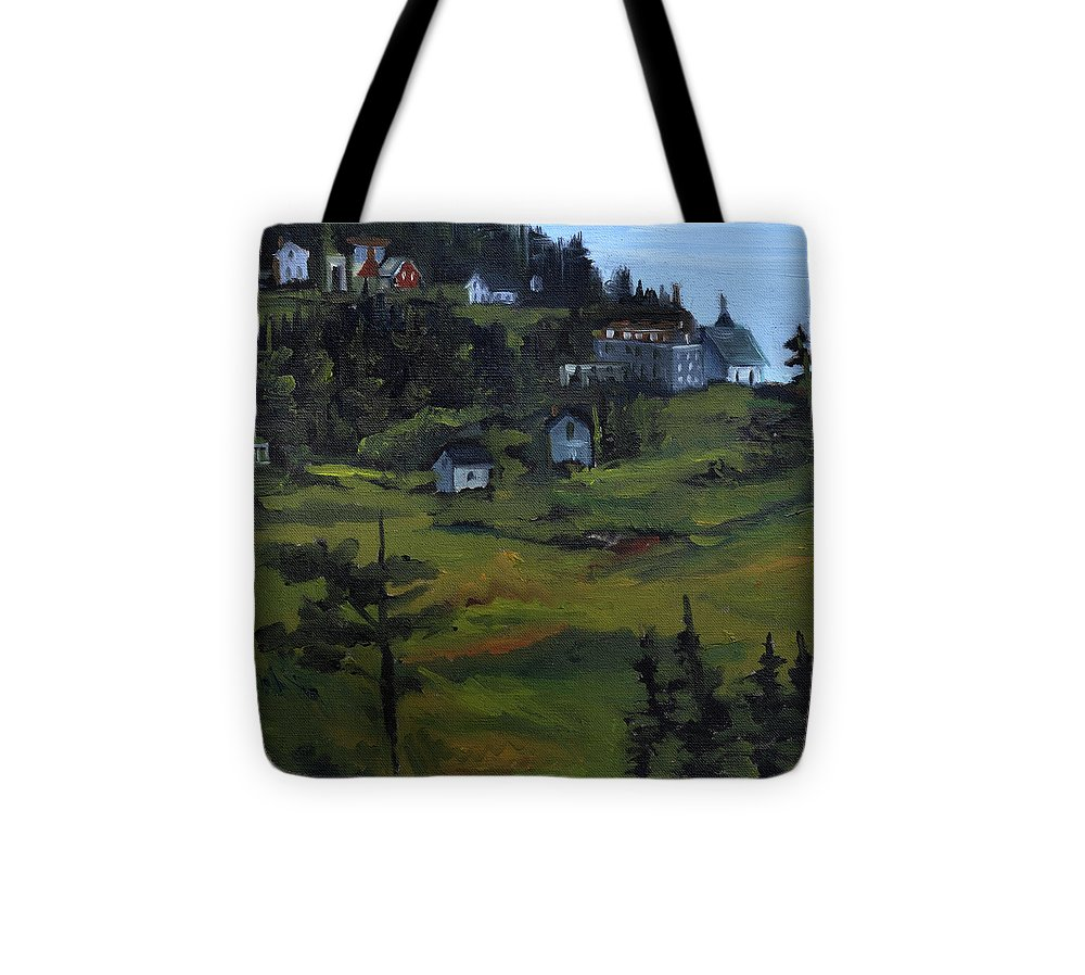 Monhegan Landscape Tote Bag featuring the painting Monhegan View From Lighthouse Hill by J R Baldini