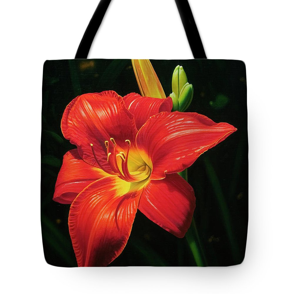 Lily Tote Bag featuring the painting Monikas Red Lily by Gary Hernandez