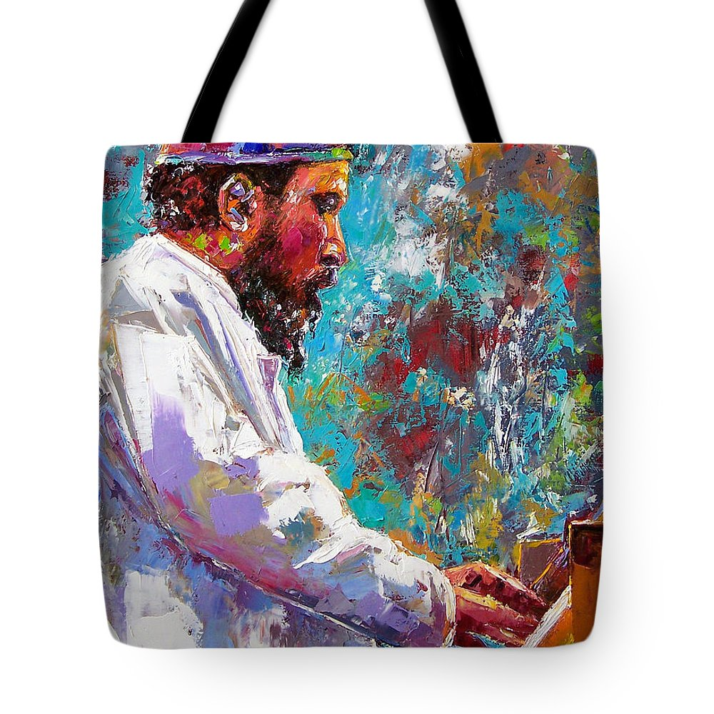 Thelonious Monk Art Tote Bag featuring the painting Monk Live by Debra Hurd