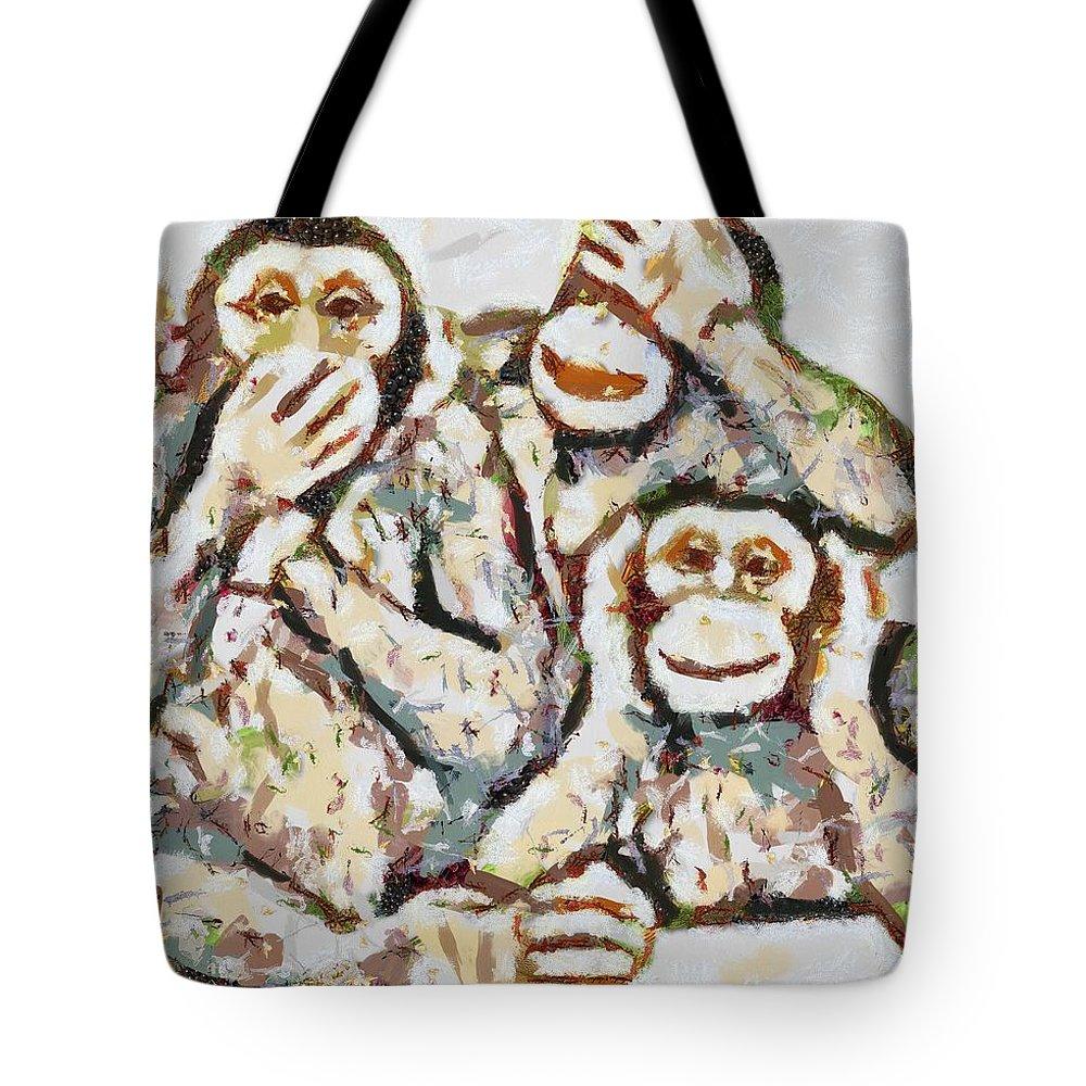 Monkey See Monkey Do Fragmented Tote Bag featuring the digital art Monkey See Monkey Do Fragmented by Catherine Lott