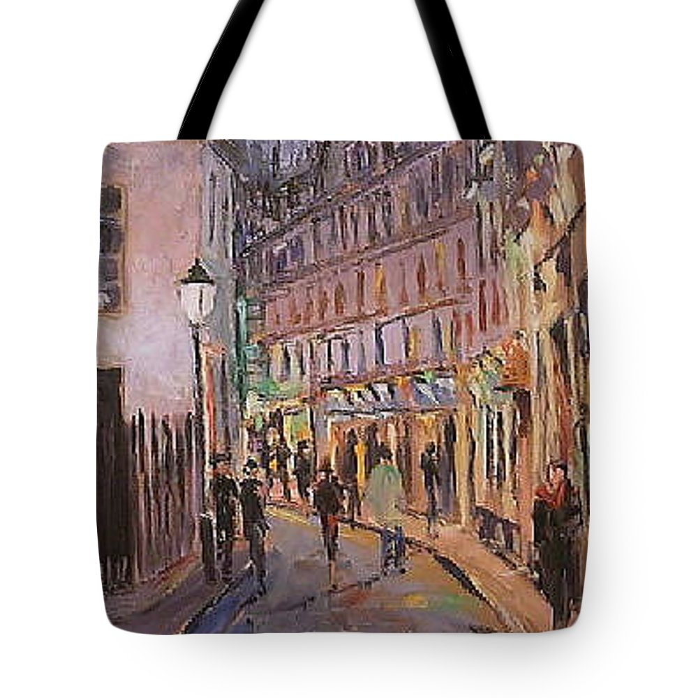 Paris Tote Bag featuring the painting Monmartre by Walter Casaravilla