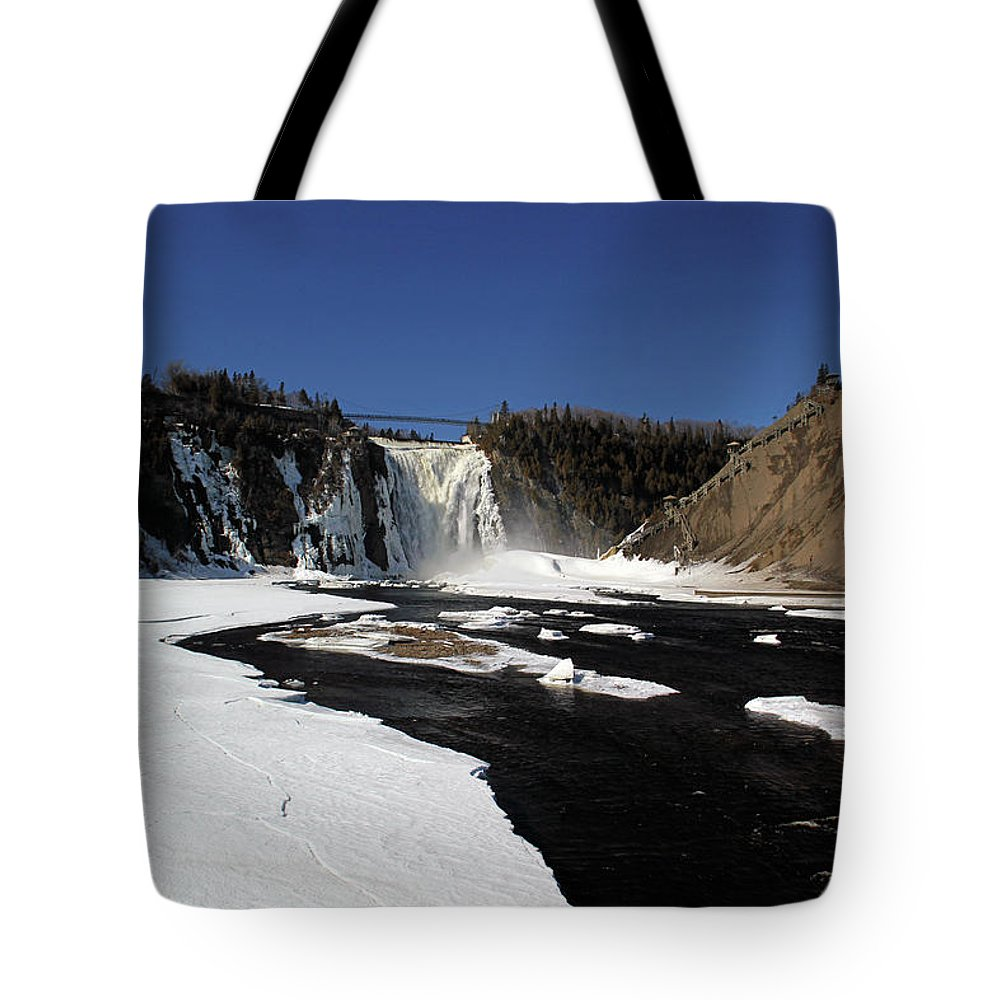 Blue Tote Bag featuring the photograph Montmorency Fall, Winter by Michel Poulin