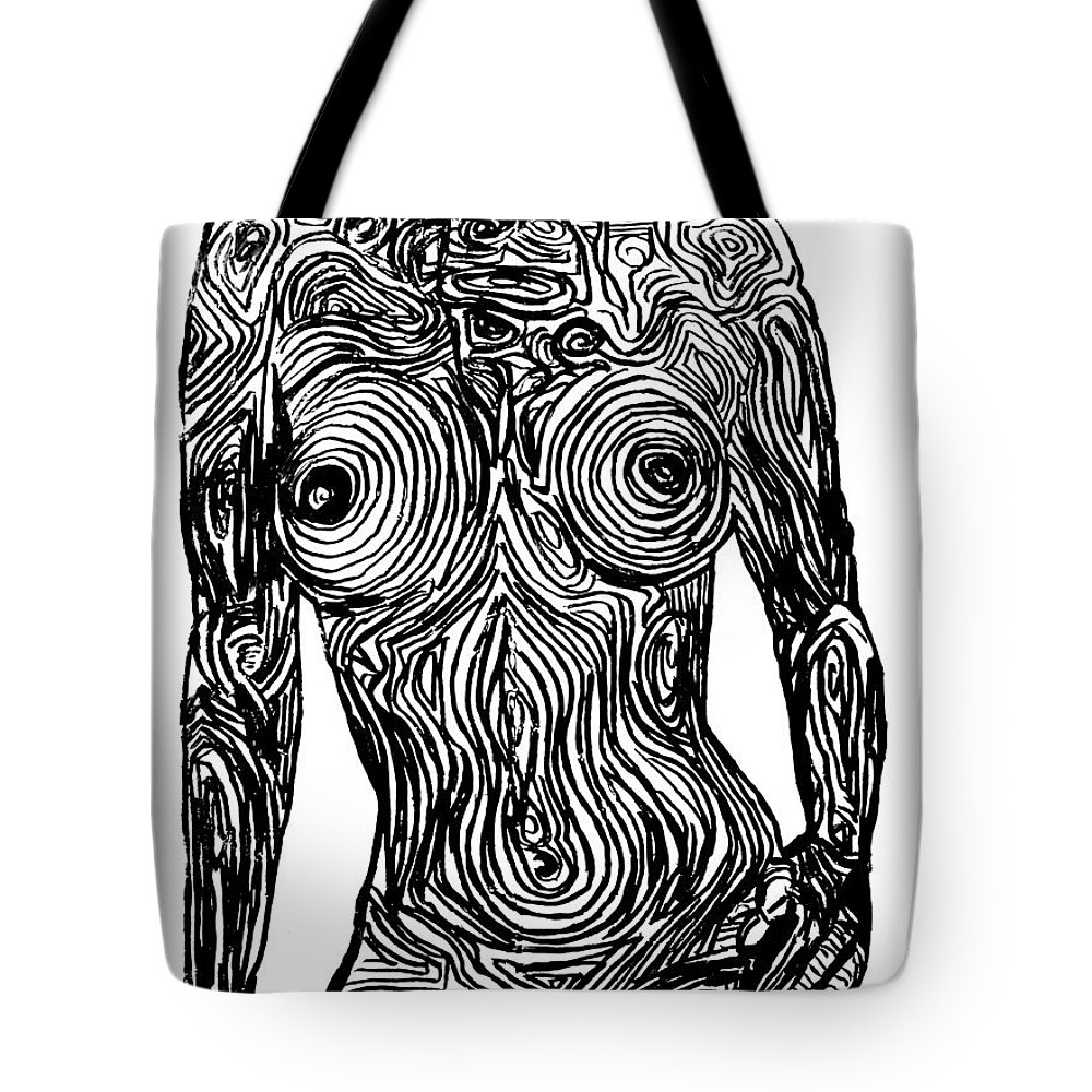 Prismacolor Tote Bag featuring the painting Monochromatic Nude by Nicole Gavin