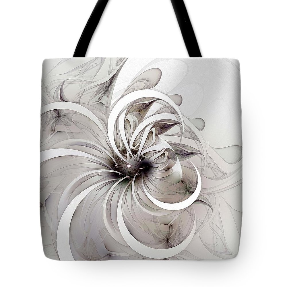 Digital Art Tote Bag featuring the digital art Monochrome Flower by Amanda Moore