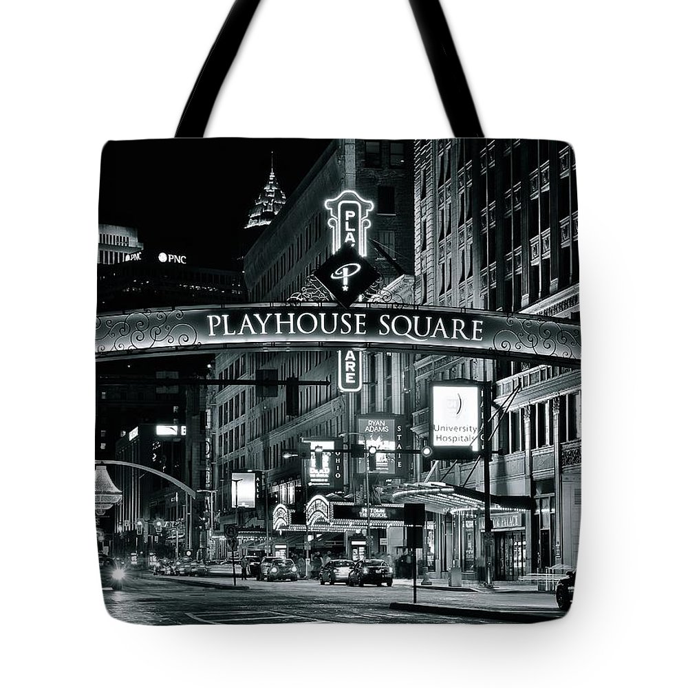 Cleveland Tote Bag featuring the photograph Monochrome Grayscale Palyhouse Square by Frozen in Time Fine Art Photography