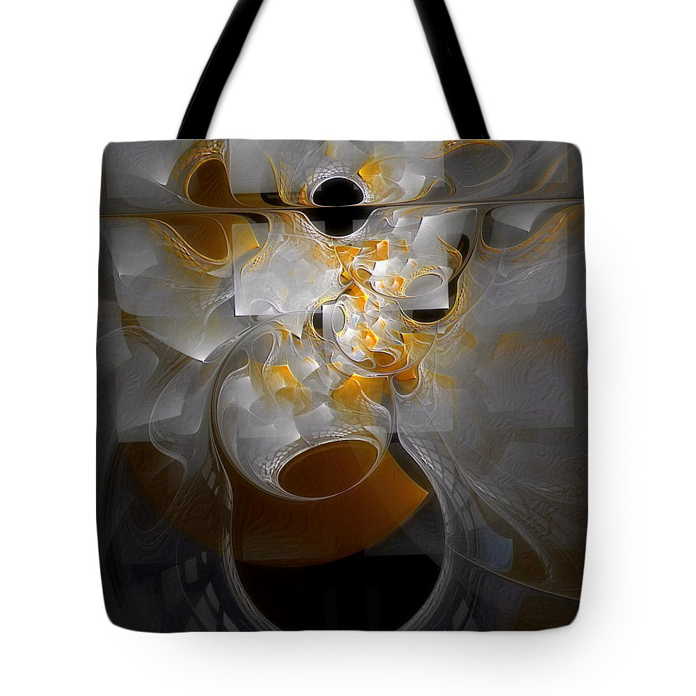 Abstract Tote Bag featuring the digital art Monolith And Friends by Casey Kotas