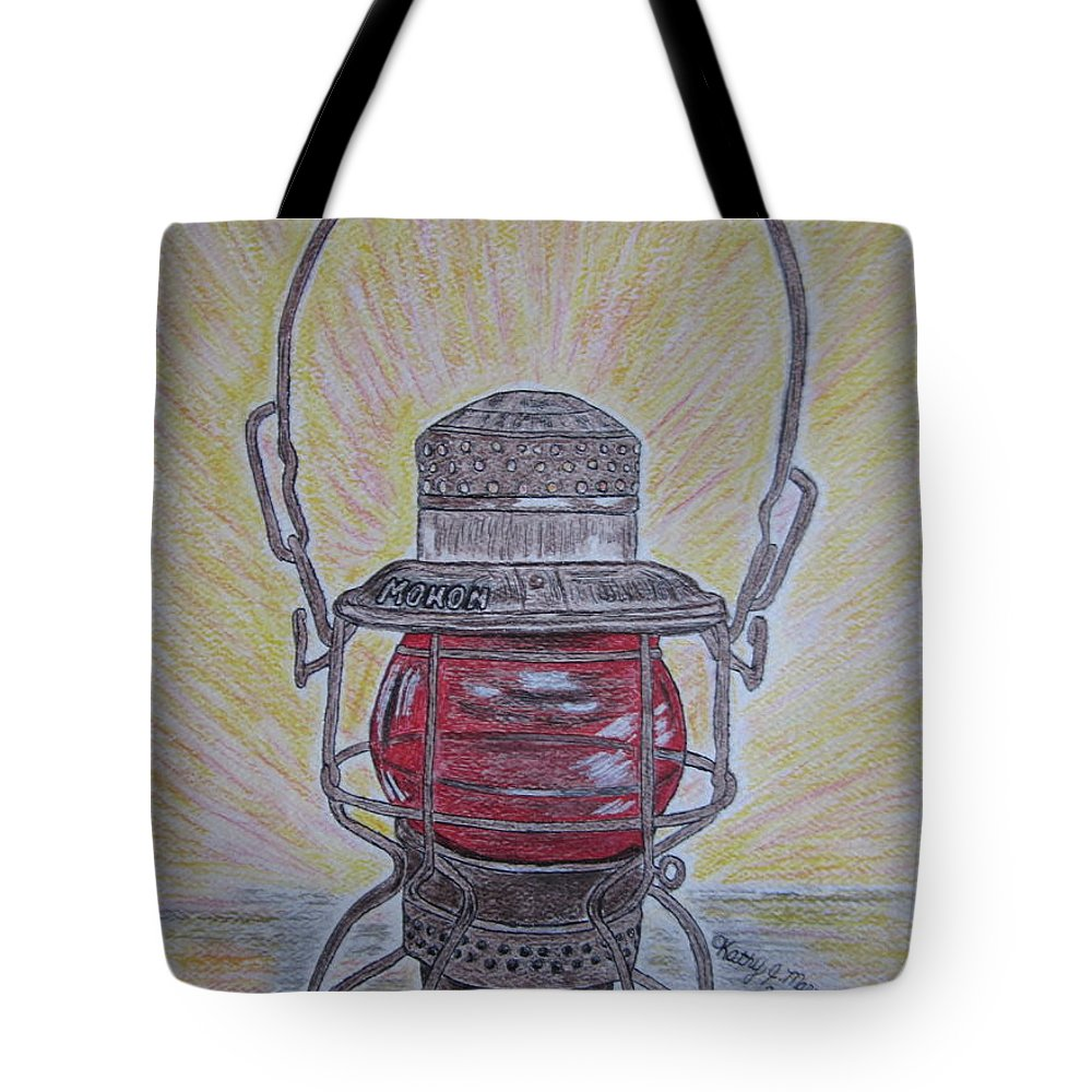 Monon Tote Bag featuring the painting Monon Red Globe Railroad Lantern by Kathy Marrs Chandler