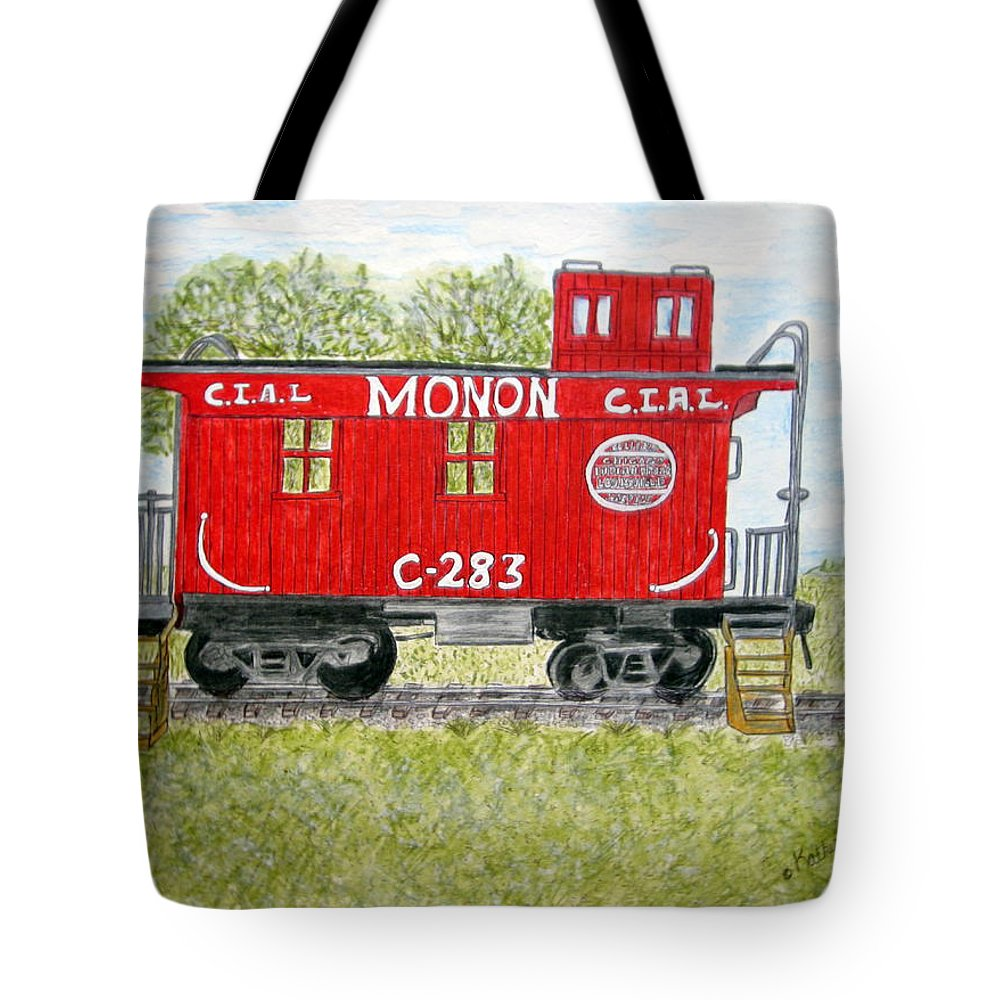 Monon Tote Bag featuring the painting Monon Wood Caboose Train C 283 1950s by Kathy Marrs Chandler