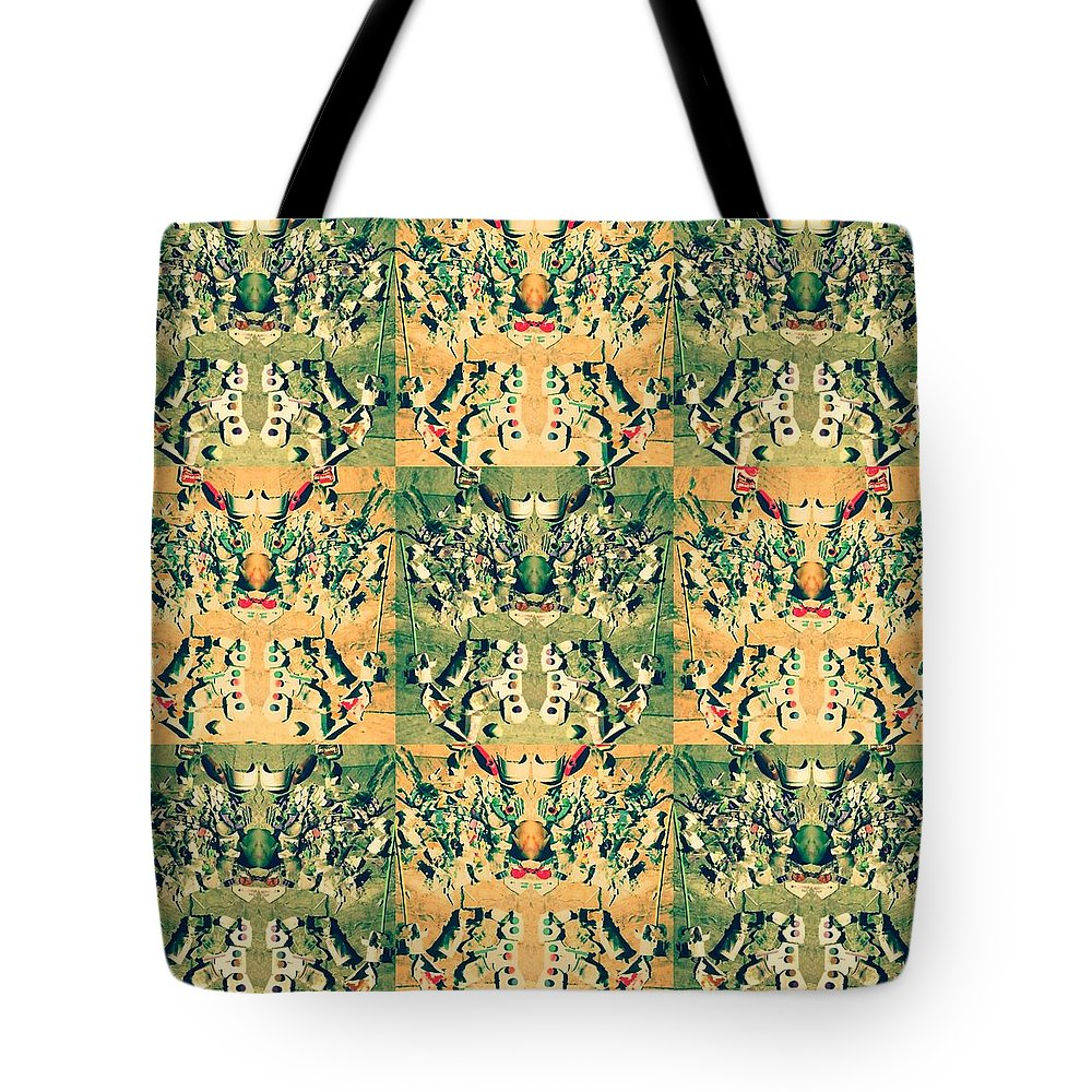 Monster. Pattern.new.beach. Message.recycle. Environment. Tote Bag featuring the mixed media Monster From The Ocean by Chikako Hashimoto Lichnowsky