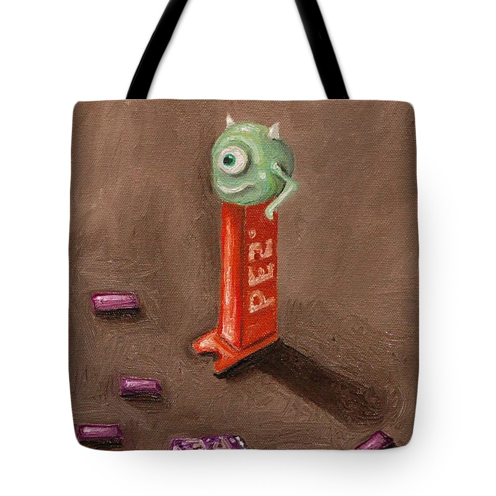 Pez Tote Bag featuring the painting Monster Pez by Leah Saulnier The Painting Maniac