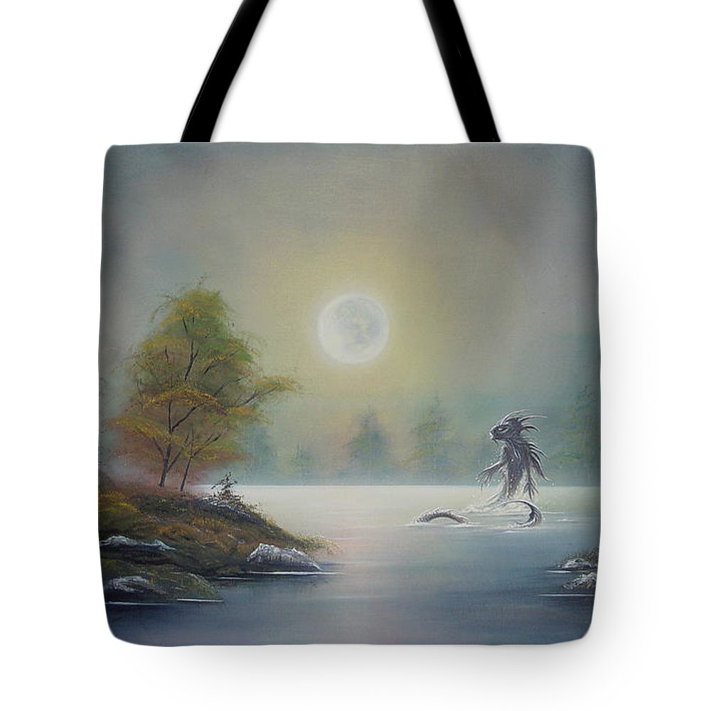 Landscape Tote Bag featuring the painting Monstruo Ness by Angel Ortiz