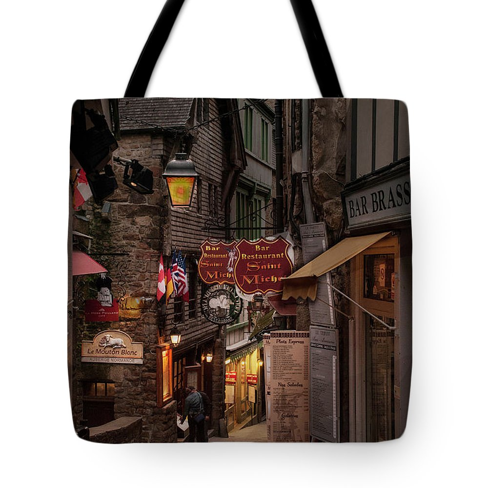 Europe Tote Bag featuring the photograph Mont-st-michel, Grand Rue At Night by Ted Lang