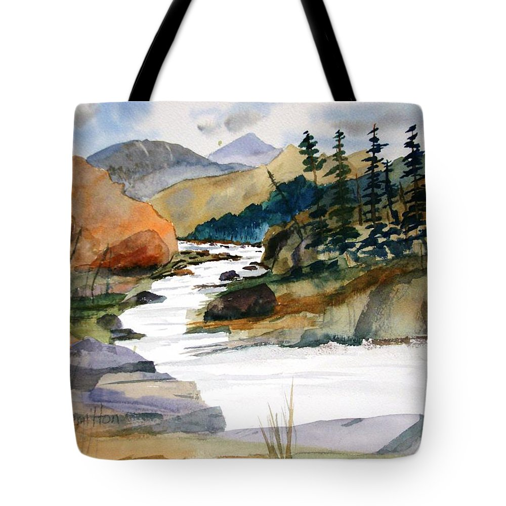 Watercolor Tote Bag featuring the painting Montana Canyon by Larry Hamilton