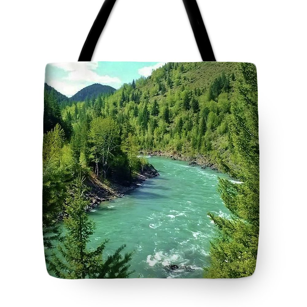 Mountains Tote Bag featuring the photograph Montana River by Eric Fellegy